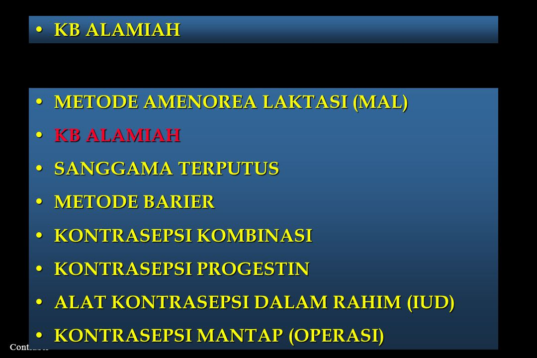 KB ALAMIAH METODE AMENOREA LAKTASI (MAL) KB ALAMIAH. SANGGAMA TERPUTUS. METODE BARIER. KONTRASEPSI KOMBINASI.