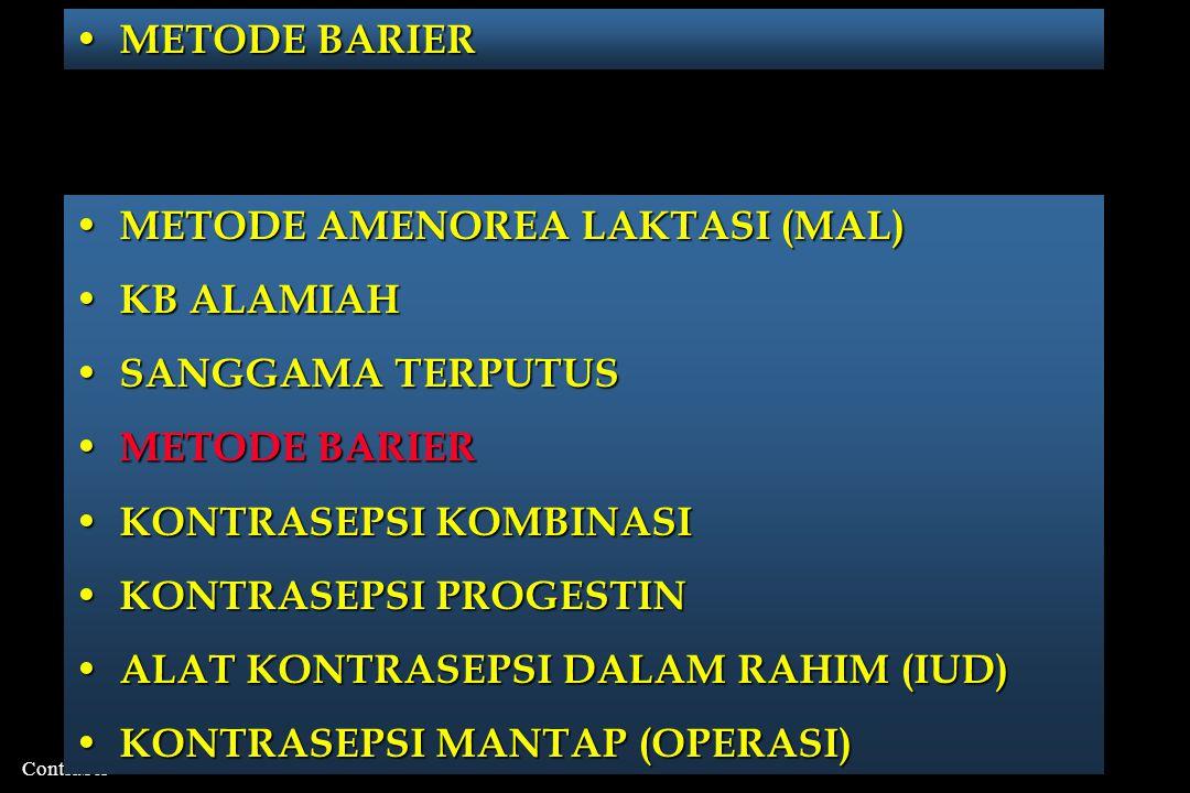 METODE BARIER METODE AMENOREA LAKTASI (MAL) KB ALAMIAH. SANGGAMA TERPUTUS. METODE BARIER. KONTRASEPSI KOMBINASI.