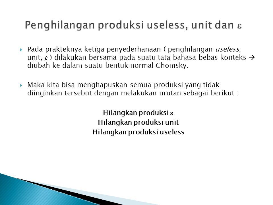 Penghilangan produksi useless, unit dan 