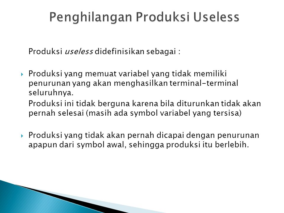 Penghilangan Produksi Useless