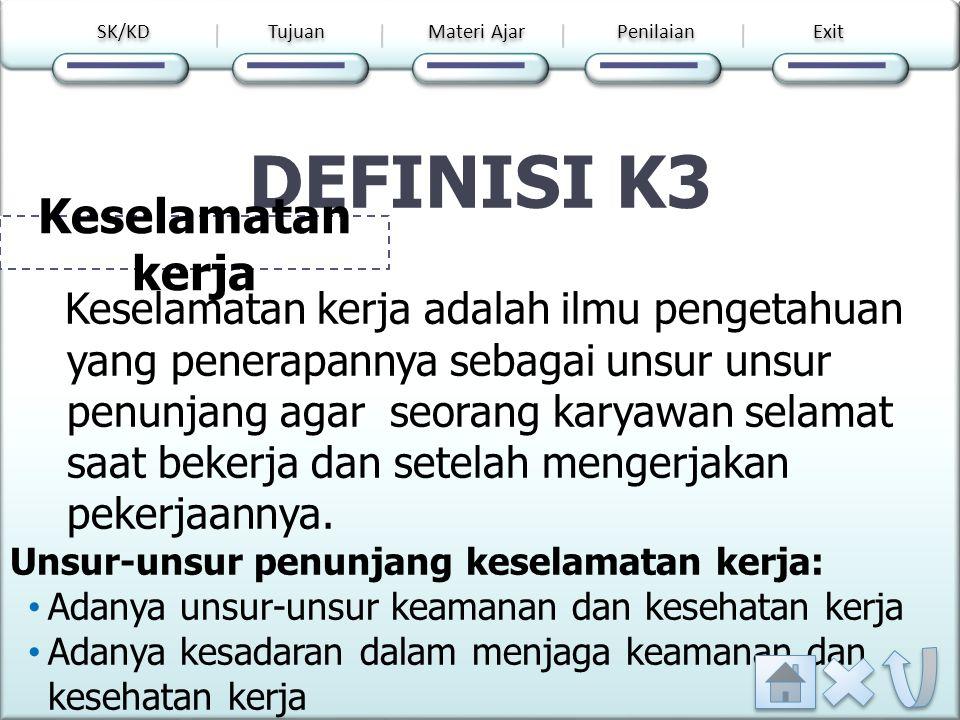 DEFINISI K3 Keselamatan kerja