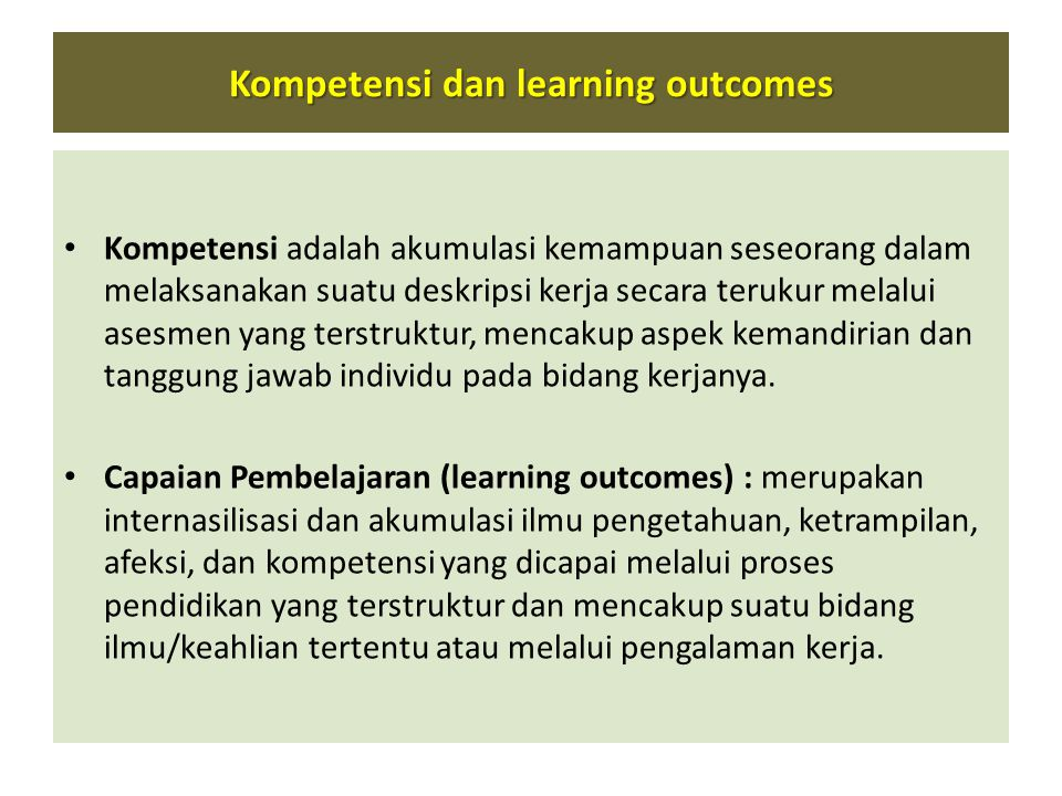 Kompetensi dan learning outcomes