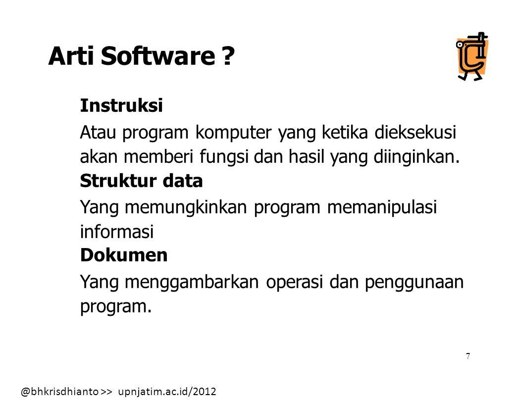 Arti Software Instruksi Atau program komputer yang ketika dieksekusi