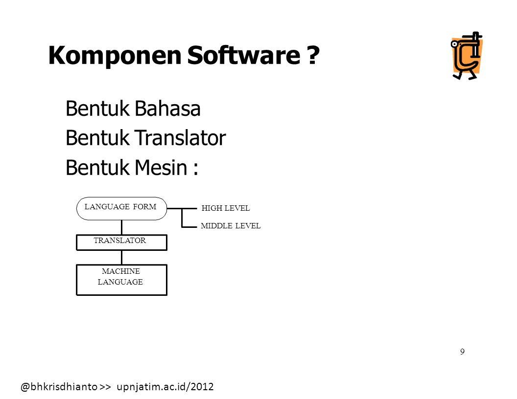 Komponen Software Bentuk Bahasa Bentuk Translator Bentuk Mesin :