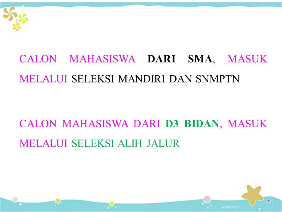 CALON MAHASISWA DARI SMA, MASUK MELALUI SELEKSI MANDIRI DAN SNMPTN CALON MAHASISWA DARI D3 BIDAN, MASUK MELALUI SELEKSI ALIH JALUR