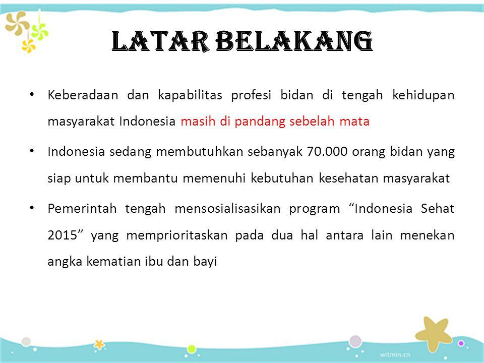 LATAR BELAKANG Keberadaan dan kapabilitas profesi bidan di tengah kehidupan masyarakat Indonesia masih di pandang sebelah mata.