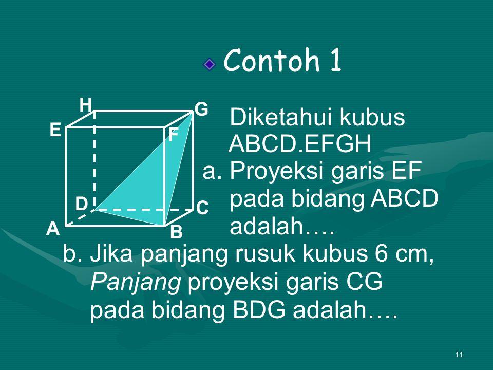 b. Jika panjang rusuk kubus 6 cm, Panjang proyeksi garis CG