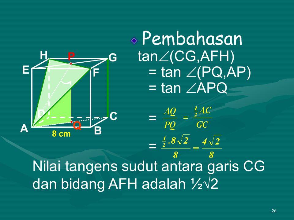 Nilai tangens sudut antara garis CG dan bidang AFH adalah ½√2