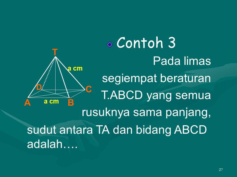 sudut antara TA dan bidang ABCD adalah….