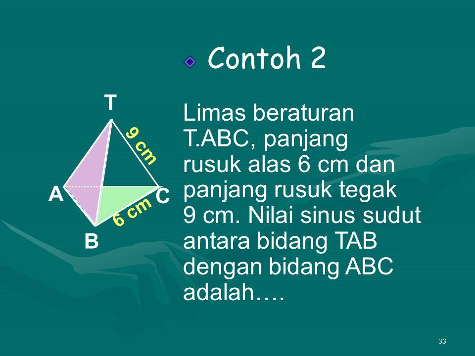 Contoh 2 Limas beraturan T.ABC, panjang rusuk alas 6 cm dan