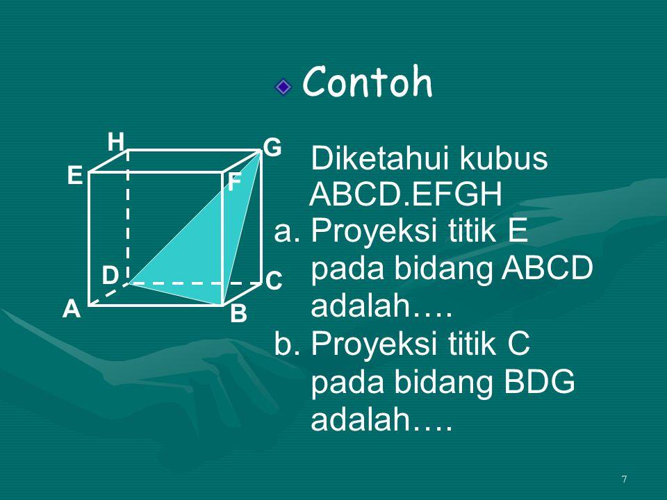 Contoh Diketahui kubus ABCD.EFGH a. Proyeksi titik E pada bidang ABCD
