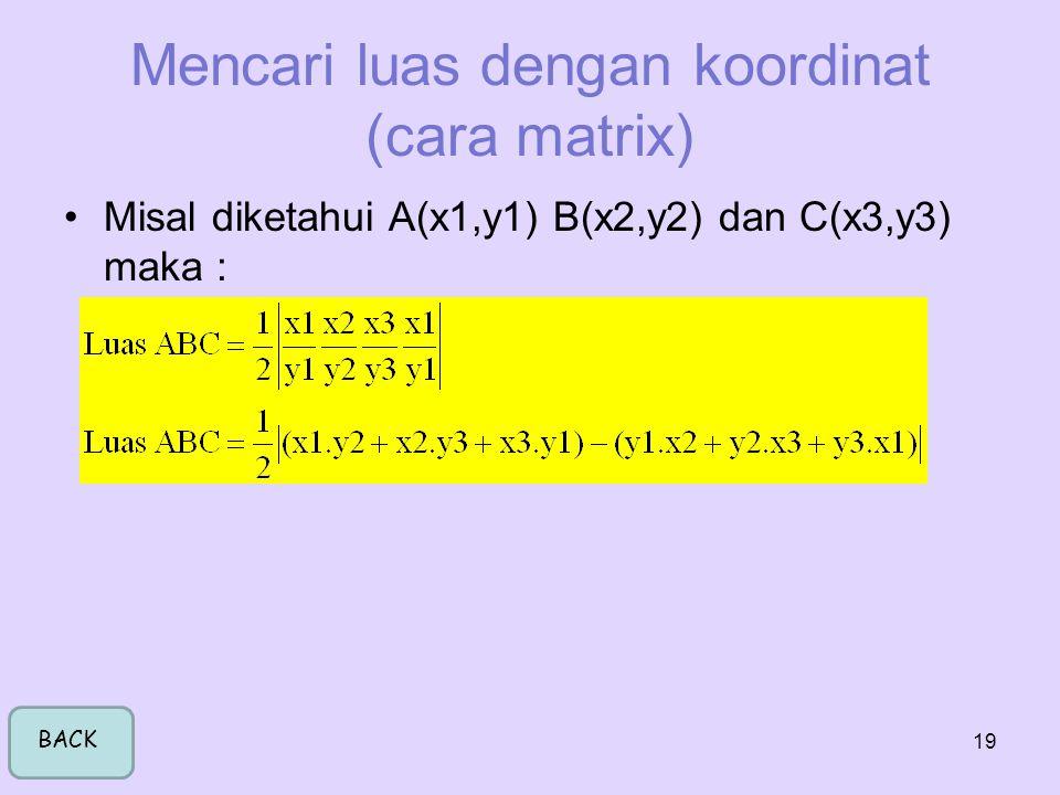 Mencari luas dengan koordinat (cara matrix)