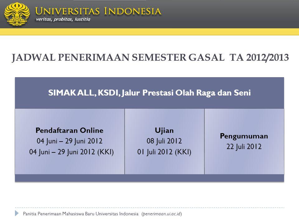 JADWAL PENERIMAAN SEMESTER GASAL TA 2012/2013
