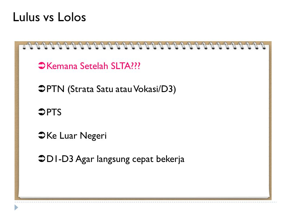 Lulus vs Lolos Kemana Setelah SLTA PTN (Strata Satu atau Vokasi/D3)