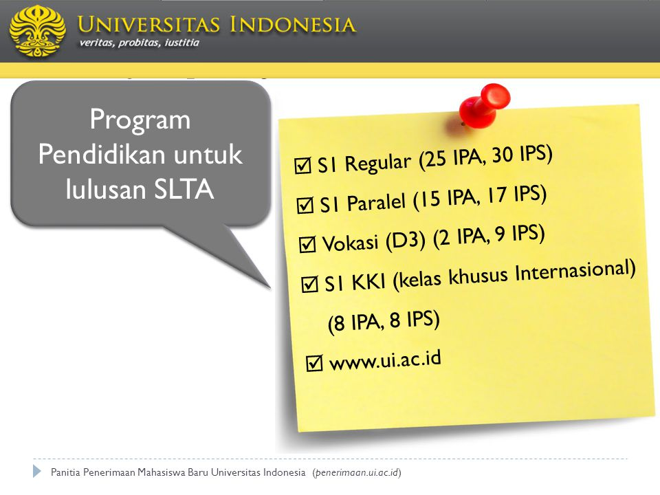 Program Pendidikan untuk lulusan SLTA