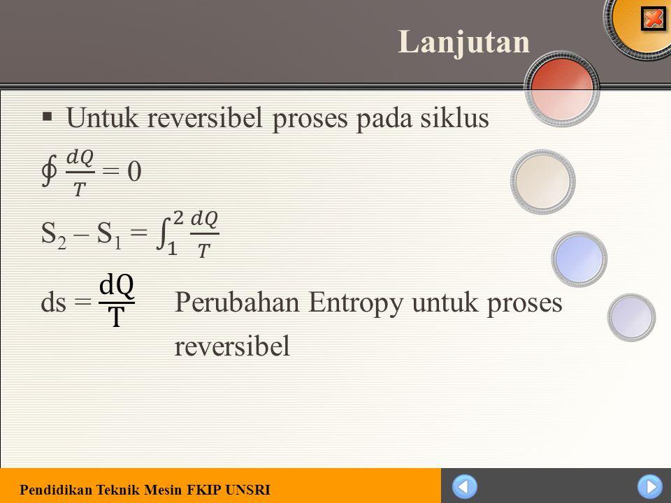 Lanjutan Untuk reversibel proses pada siklus ∮ 𝑑𝑄 𝑇 = 0