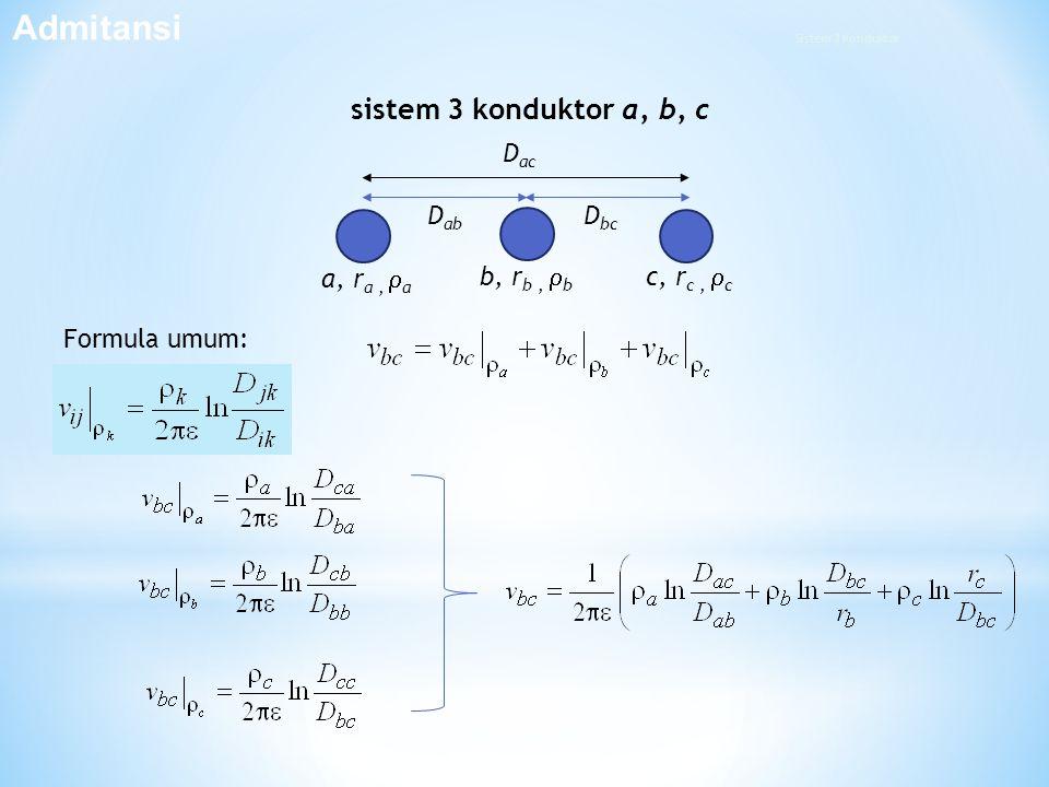 Admitansi sistem 3 konduktor a, b, c Dab a, ra , a Dac Dbc c, rc , c