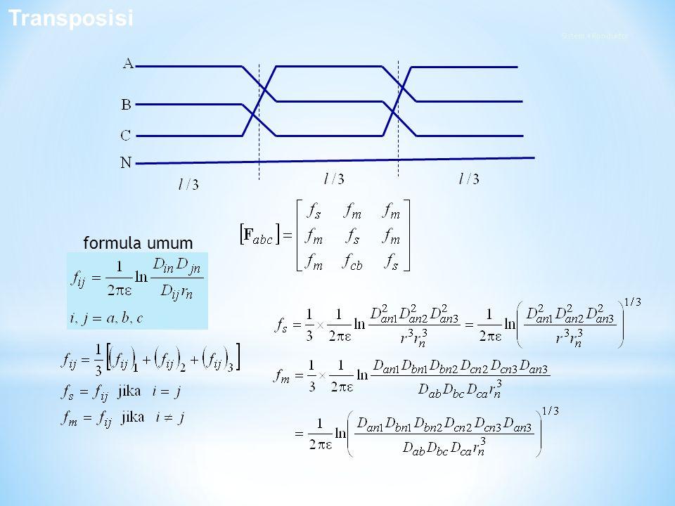 Transposisi Sistem 4 Konduktor formula umum