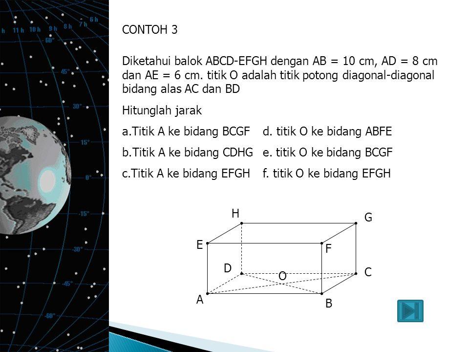CONTOH 3 Diketahui balok ABCD-EFGH dengan AB = 10 cm, AD = 8 cm dan AE = 6 cm. titik O adalah titik potong diagonal-diagonal bidang alas AC dan BD.