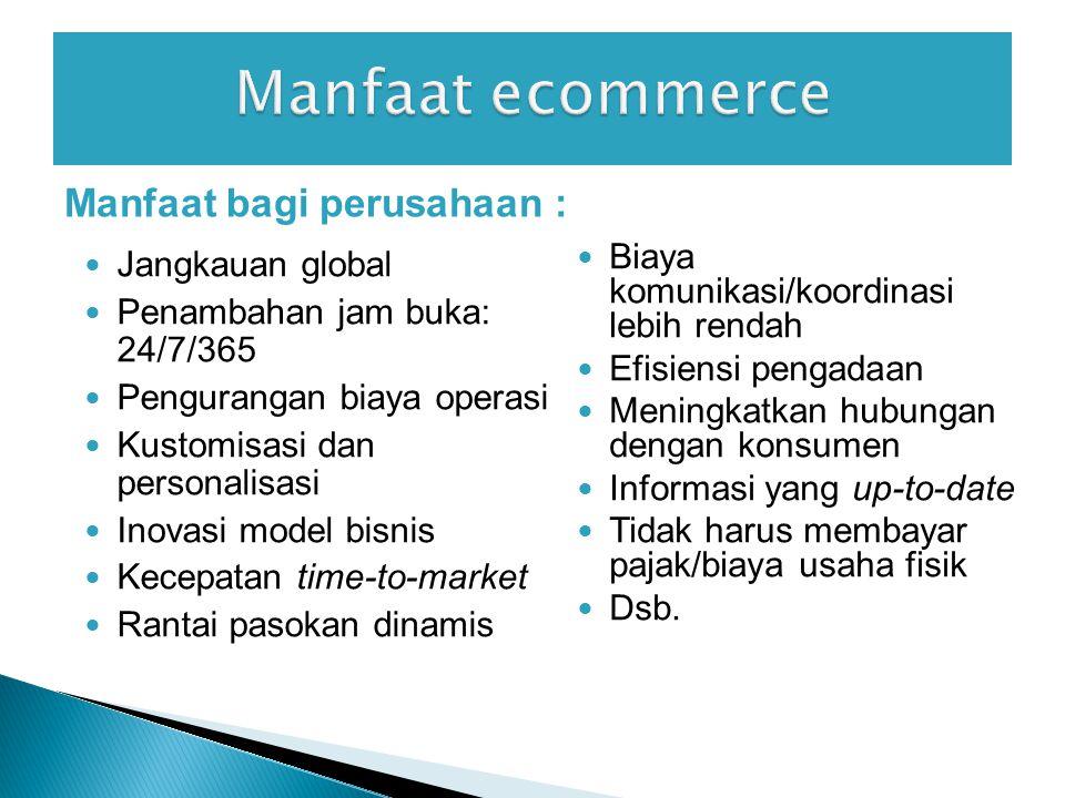 Manfaat ecommerce Manfaat bagi perusahaan :