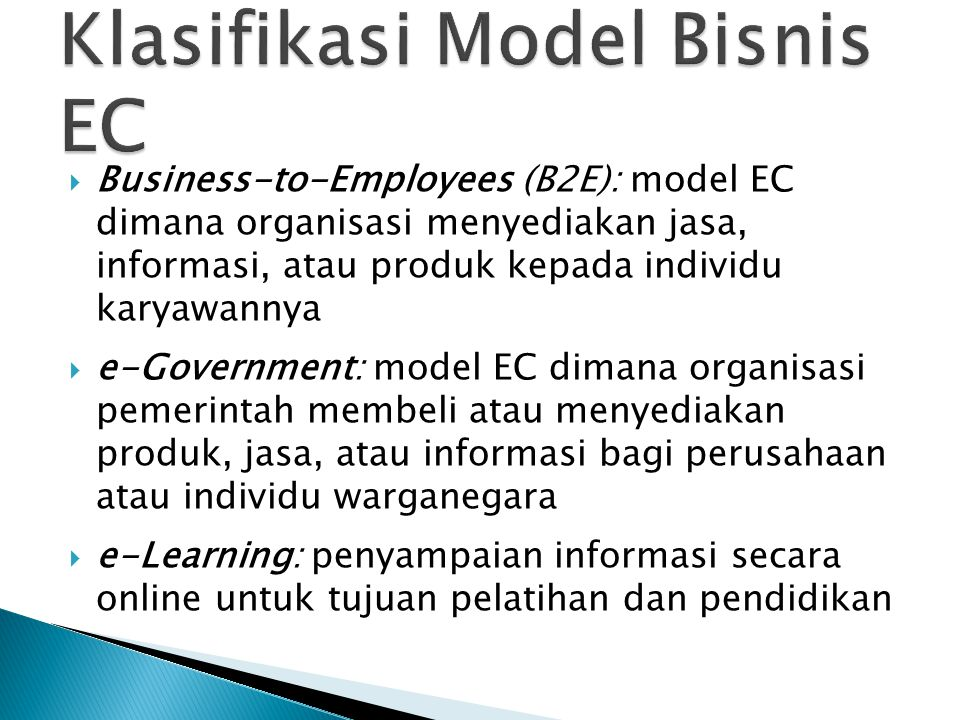 Klasifikasi Model Bisnis EC