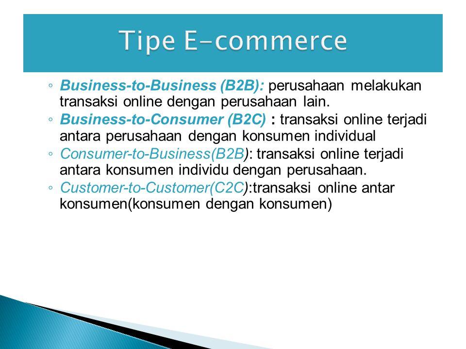 Tipe E-commerce Business-to-Business (B2B): perusahaan melakukan transaksi online dengan perusahaan lain.