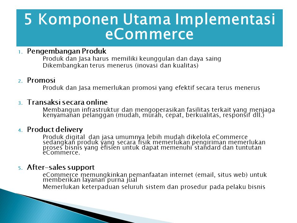 5 Komponen Utama Implementasi eCommerce