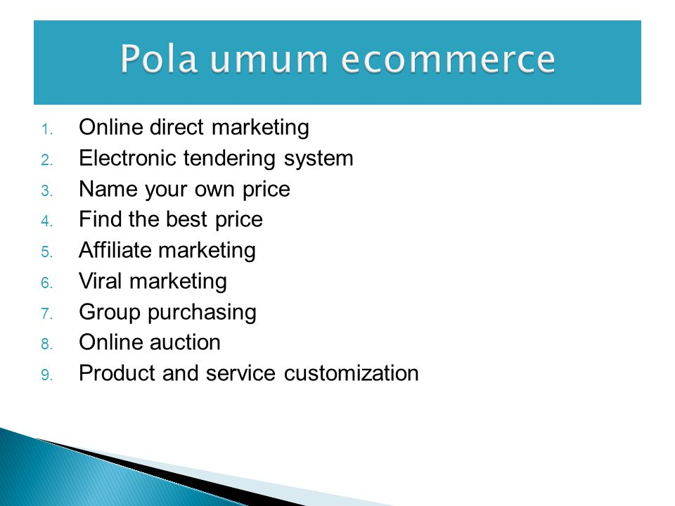 Pola umum ecommerce Online direct marketing