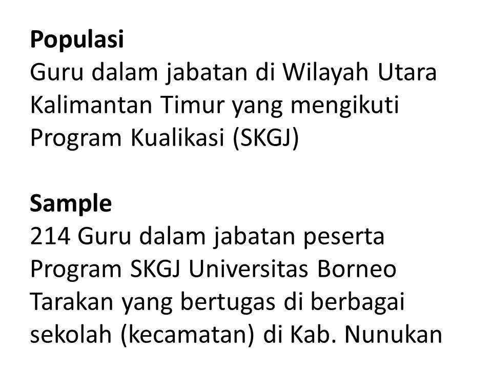 Populasi Guru dalam jabatan di Wilayah Utara Kalimantan Timur yang mengikuti Program Kualikasi (SKGJ) Sample 214 Guru dalam jabatan peserta Program SKGJ Universitas Borneo Tarakan yang bertugas di berbagai sekolah (kecamatan) di Kab.