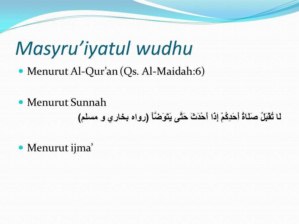 Masyru'iyatul wudhu Menurut Al-Qur'an (Qs. Al-Maidah:6) Menurut Sunnah