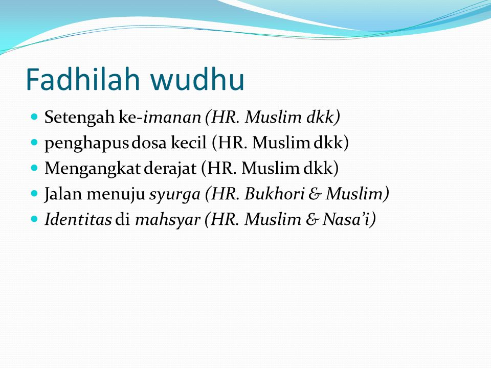 Fadhilah wudhu Setengah ke-imanan (HR. Muslim dkk)