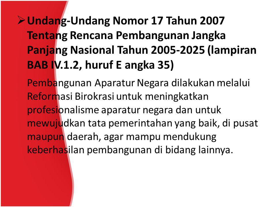 Undang-Undang Nomor 17 Tahun 2007 Tentang Rencana Pembangunan Jangka Panjang Nasional Tahun 2005-2025 (lampiran BAB IV.1.2, huruf E angka 35)