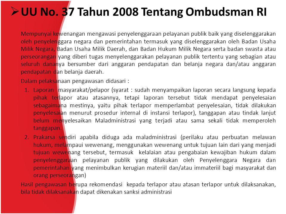 UU No. 37 Tahun 2008 Tentang Ombudsman RI