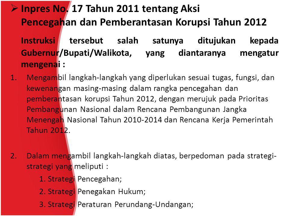 Inpres No. 17 Tahun 2011 tentang Aksi Pencegahan dan Pemberantasan Korupsi Tahun 2012