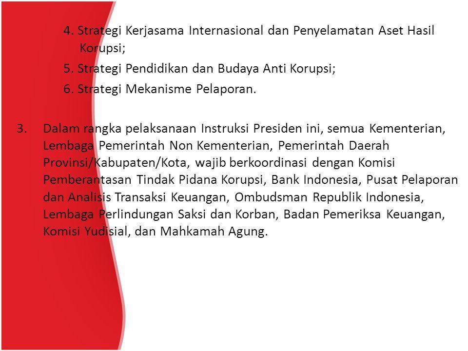 5. Strategi Pendidikan dan Budaya Anti Korupsi;