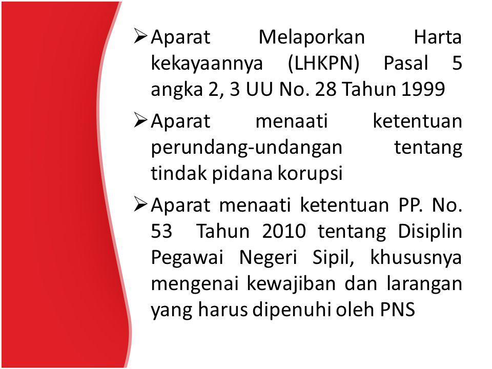Aparat Melaporkan Harta kekayaannya (LHKPN) Pasal 5 angka 2, 3 UU No