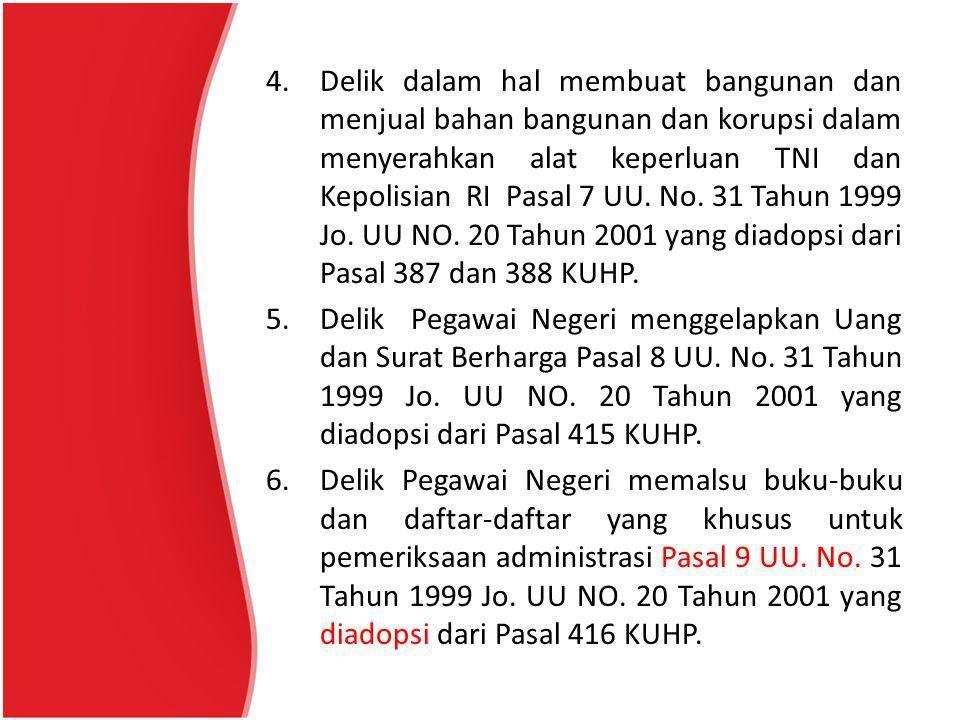 Delik dalam hal membuat bangunan dan menjual bahan bangunan dan korupsi dalam menyerahkan alat keperluan TNI dan Kepolisian RI Pasal 7 UU. No. 31 Tahun 1999 Jo. UU NO. 20 Tahun 2001 yang diadopsi dari Pasal 387 dan 388 KUHP.