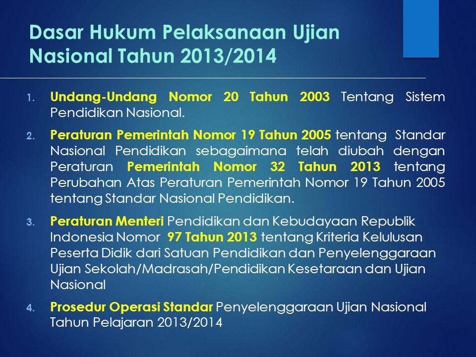 Dasar Hukum Pelaksanaan Ujian Nasional Tahun 2013/2014