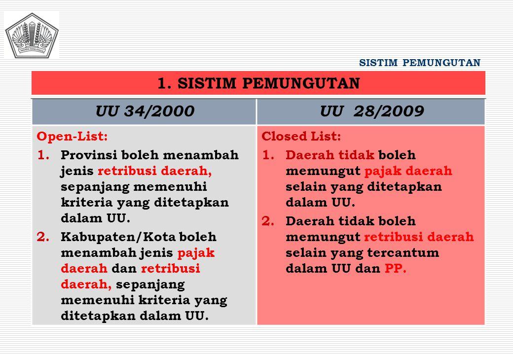 1. SISTIM PEMUNGUTAN UU 34/2000 UU 28/2009