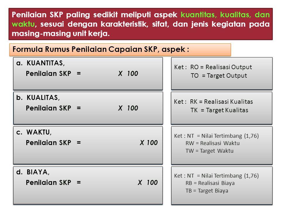 Formula Rumus Penilaian Capaian SKP, aspek :