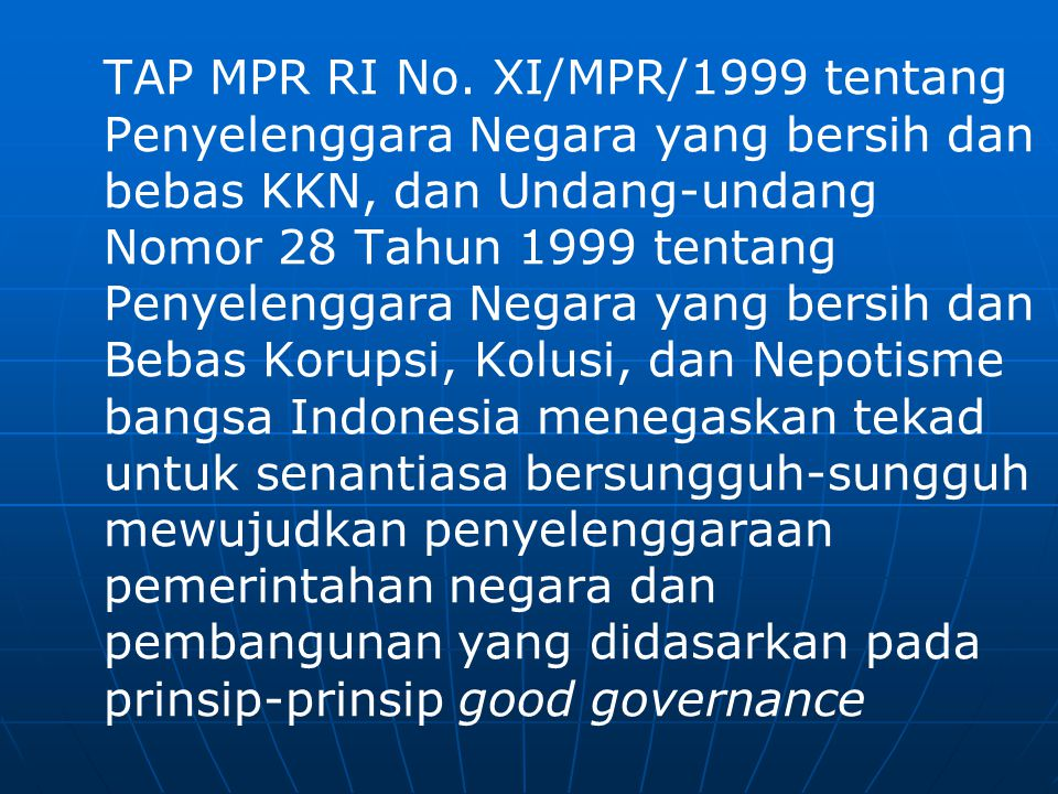 Teori Pemerintahan Yang Baik (Good Governance)