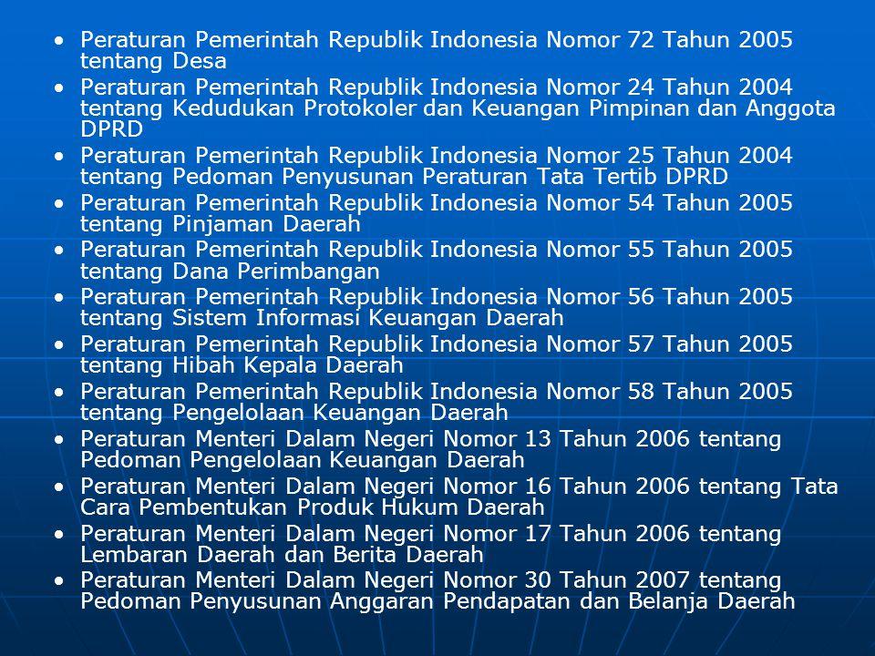 Peraturan Perundang-undangan Pemerintahan Daerah :