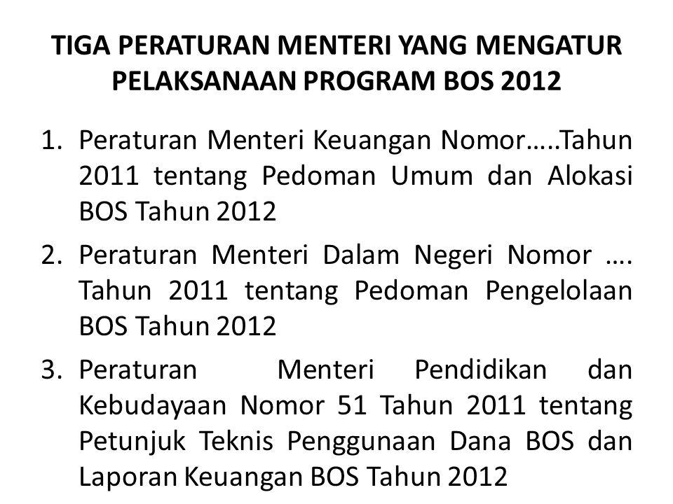TIGA PERATURAN MENTERI YANG MENGATUR PELAKSANAAN PROGRAM BOS 2012