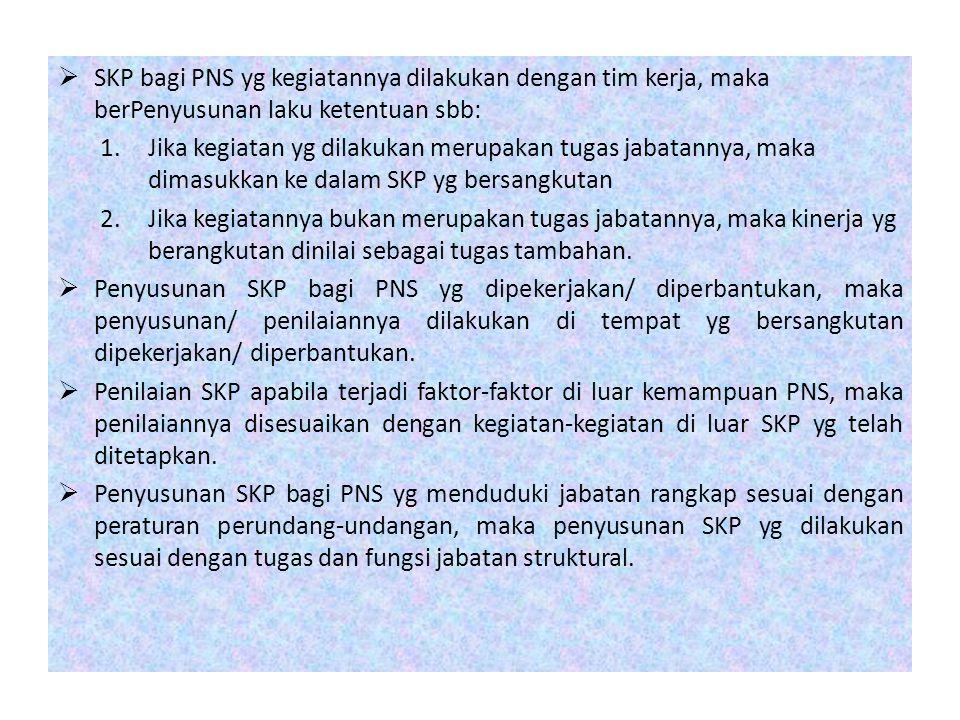 SKP bagi PNS yg kegiatannya dilakukan dengan tim kerja, maka berPenyusunan laku ketentuan sbb: