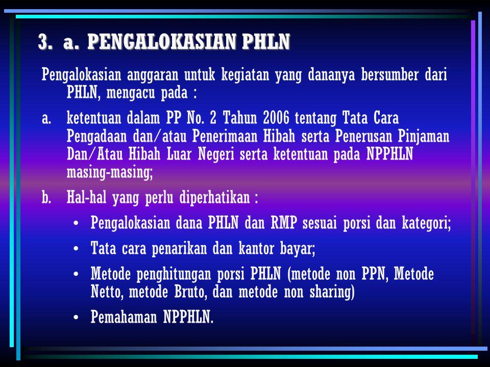 a. PENGALOKASIAN PHLN Pengalokasian anggaran untuk kegiatan yang dananya bersumber dari PHLN, mengacu pada :