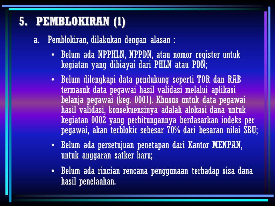 PEMBLOKIRAN (1) Pemblokiran, dilakukan dengan alasan :