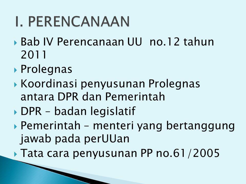 I. PERENCANAAN Bab IV Perencanaan UU no.12 tahun 2011 Prolegnas