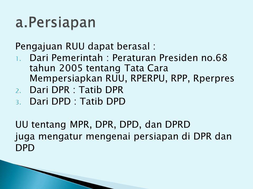 a.Persiapan Pengajuan RUU dapat berasal :