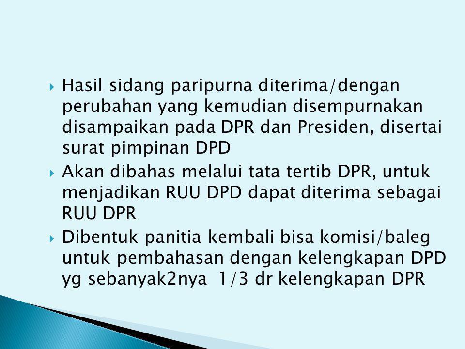 Hasil sidang paripurna diterima/dengan perubahan yang kemudian disempurnakan disampaikan pada DPR dan Presiden, disertai surat pimpinan DPD