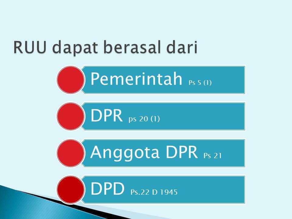 Anggota DPR Ps 21 Pemerintah Ps 5 (1) DPD Ps.22 D 1945 DPR ps 20 (1)